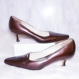 Amalfi Bronze Brown Crackle Leather Heels 5.5